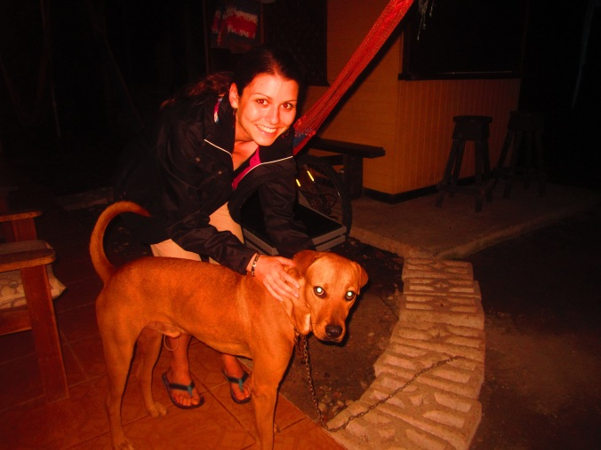 "With the dog of our host in ""Cabinas Mariana"""